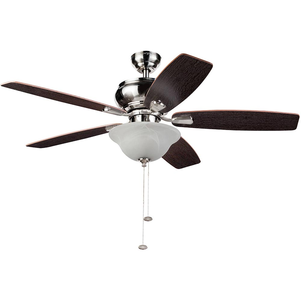 Honeywell Elston Ceiling Fan with Bowl Light, Satin Nickel, 52 Inch - 10301