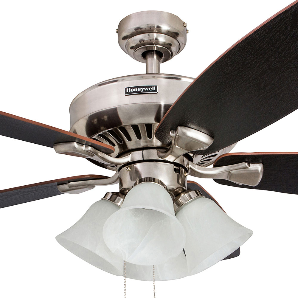 Honeywell Birnham Ceiling Fan Brushed Nickel Finish 52