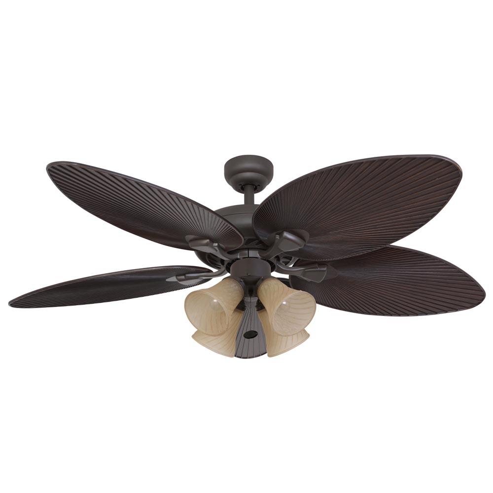 honeywell 4 light palm island ceiling fan bronze finish 52 inch. Black Bedroom Furniture Sets. Home Design Ideas