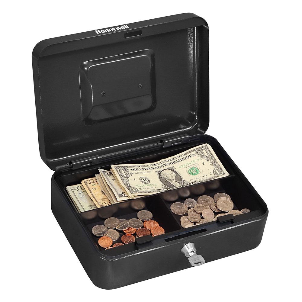 Honeywell 6202 Small Steel Cash Box 1 Bill 3 Coin Slots