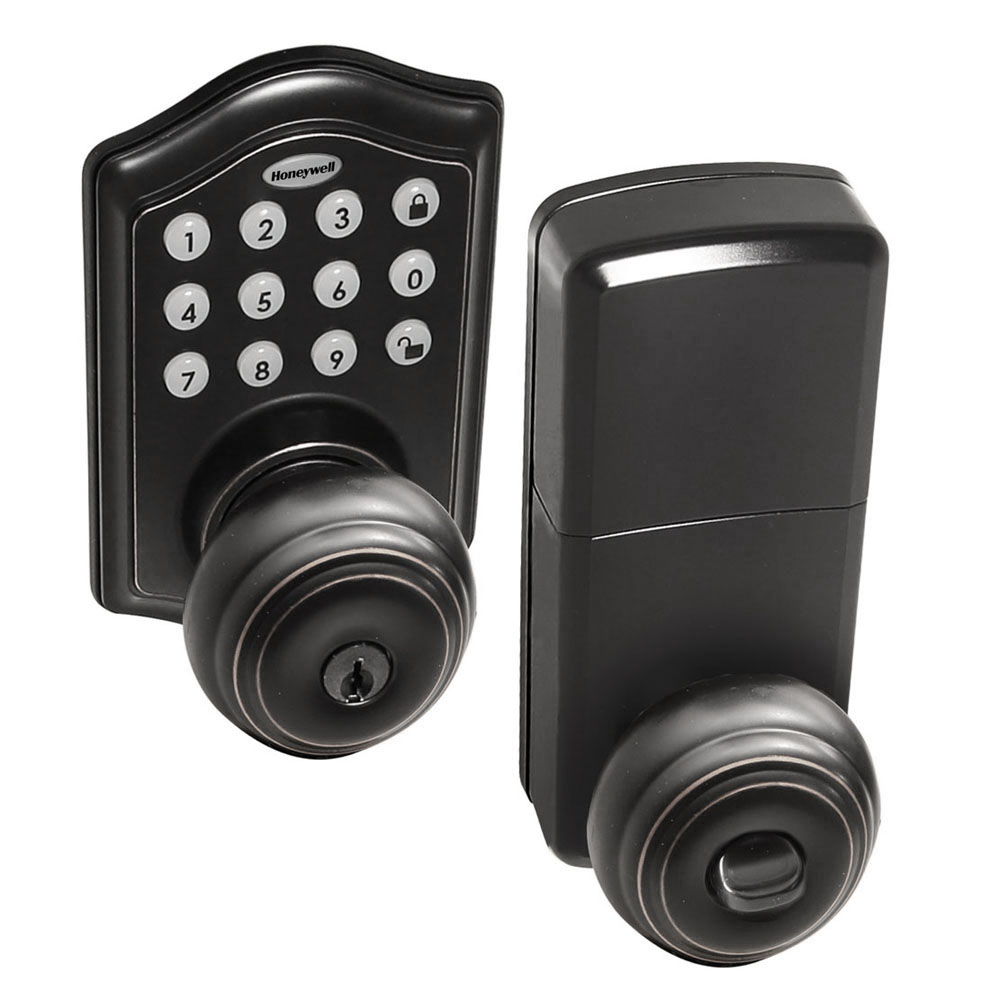 Honeywell Electronic Entry Knob Door Lock, Matte Black, 8732501