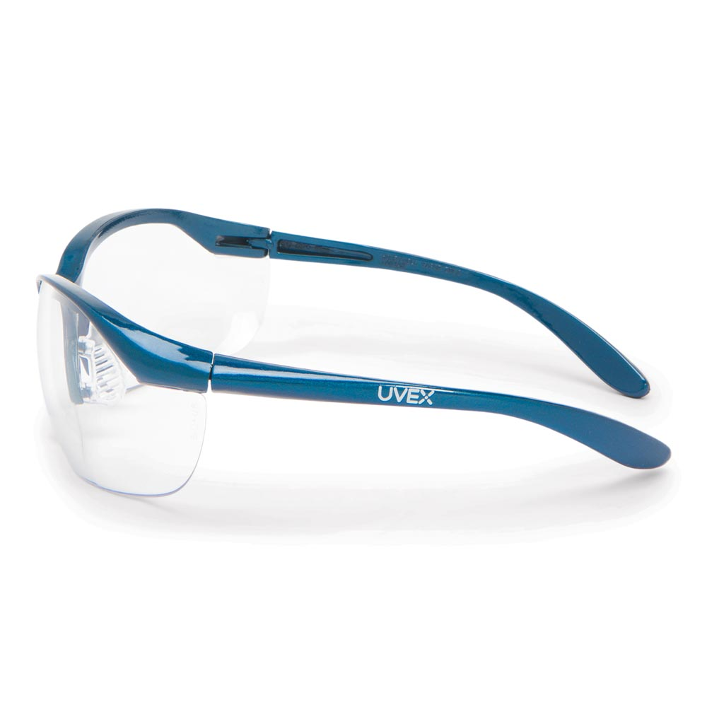 Honeywell Vapor Safety Eyewear with Contoured Fit Design, Sporty Metallic Blue Frame, Clear Lens, Anti-Fog Lens Coating - RWS-51004