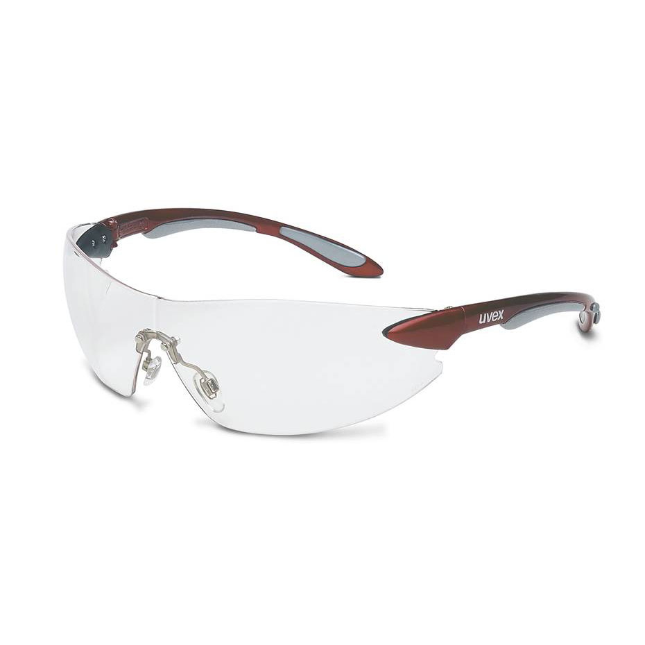 Honeywell Uvex Ignite Safety Eyewear, Frameless Design, Red and Silver Metallic Temples, Clear Lens, Anti-Fog Lens Coating - RWS-51037