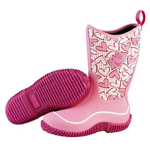 Muck Boots Kid's Hale Outdoor Boot in Pink Hearts, KBH-4HRT ...