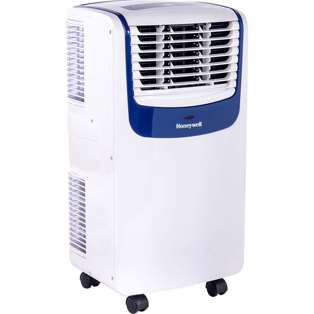 Honeywell MO10CESWB Compact Air Conditioner, 10,000 BTU Cooling, with Dehumidifier & Fan (White/Blue)