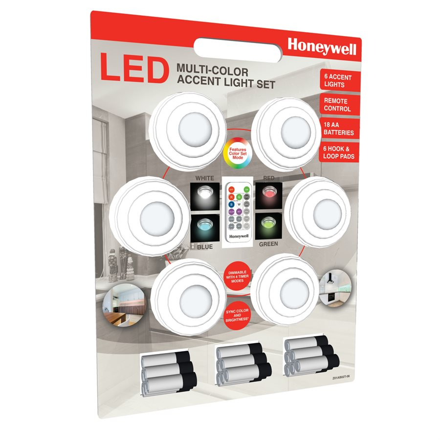 Honeywell Battery Powered Accent Light Set, Includes 6 Color Changing Lights (6-Pack), Z01AB02G-06
