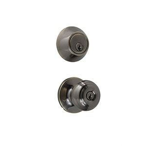 Honeywell Classic Door Knob Home Security Kit, Antique Brass, 8101106