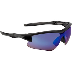 Honeywell Acadia Shooter's Safety Eyewear, Black Frame, Blue Mirror Lens with with Scratch-Resistant Hardcoat Lens Coating - R-02218