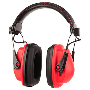 Honeywell Stereo Hearing Protector Earmuffs w/ Audio Jack, Black/Red - RWS-53011