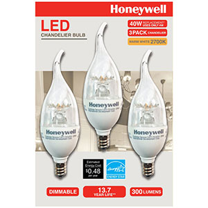 Honeywell B11 Candelabra & Chandelier LED Light Bulbs, 40W Equivalent Dimmable 3 Pack, B114027HB320
