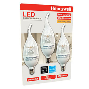 Honeywell B11 Candelabra & Chandelier LED Light Bulbs, 60W Equivalent Dimmable 3 Pack, B116027HB320
