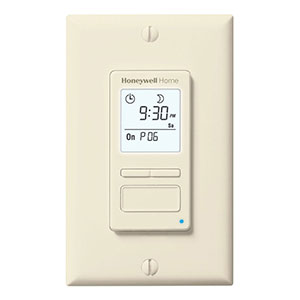 Honeywell RPLS741B1007/U ECONOSwitch 7-Day Solar Programmable Light Switch Timer (Almond)